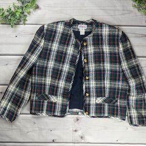 Orvis | Vintage Festive Plaid Blazer Jacket